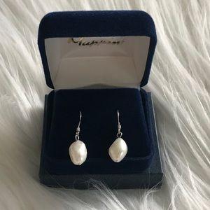 Genuine fresh water baroque pearl earrings